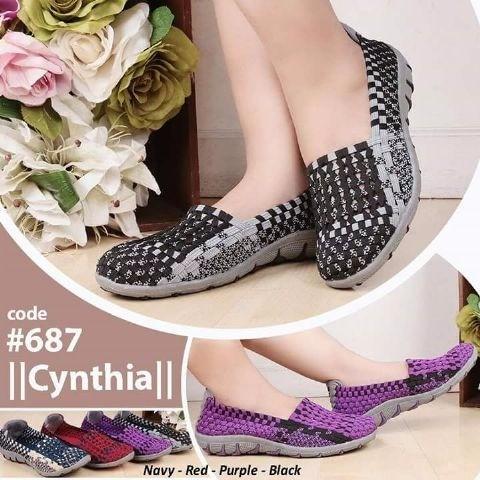 harga (promo) sepatu original rajut anyaman cynthia flat 687 Tokopedia.com