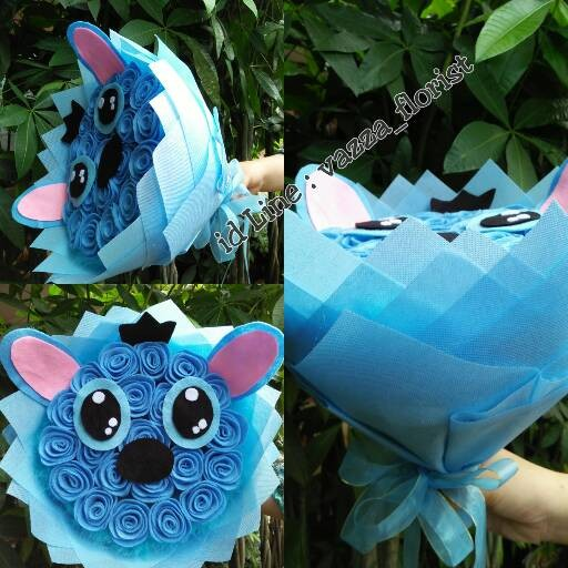 Jual Buket Mawar Model Stitch Bunga Flanel Kab Lampung Selatan Vazzaflorist Tokopedia