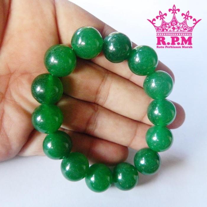 harga Gelang pria wanita batu giok asli original warna hijau 14mm Tokopedia.com
