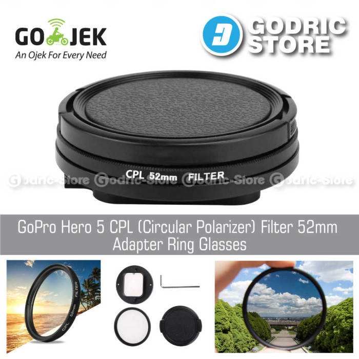 harga Gopro hero 5 cpl (circular polarizer) filter 52mm adapter ring glasses Tokopedia.com