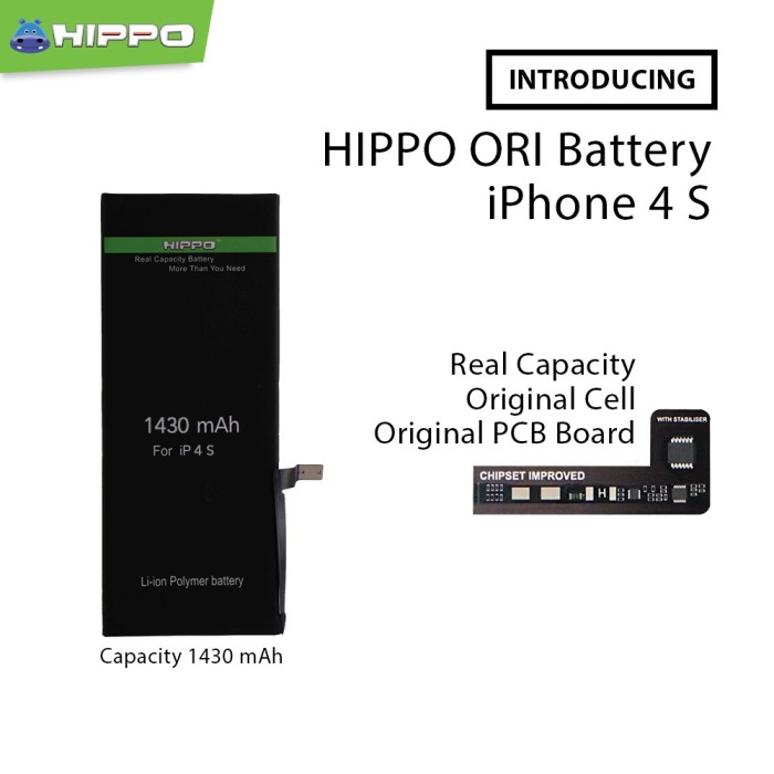 Foto Produk Hippo baterai iphone 4S 1430 MAH Original Premium Cell Quality dari Hippo Power Bank