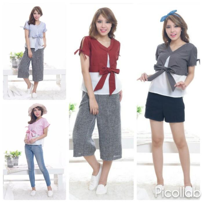 harga Atasan baju blouse blus korea wanita korean v-neck blouse bowtie clara Tokopedia.com