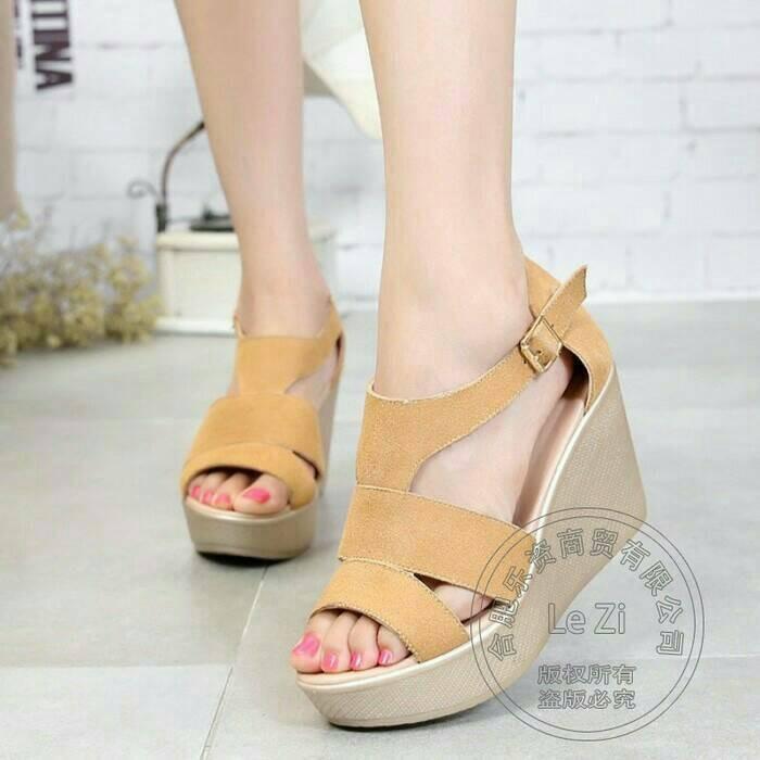 harga Ls05 tan wedges cantik sepatu sandal sendal wanita murah dan elegan Tokopedia.com
