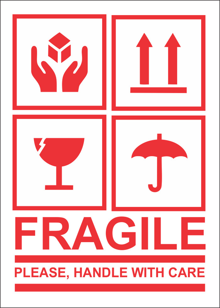 Sticker fragile stiker awas barang pecah belah 10x7 cm chromo