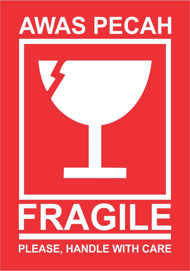 jual sticker fragile stiker awas barang pecah belah