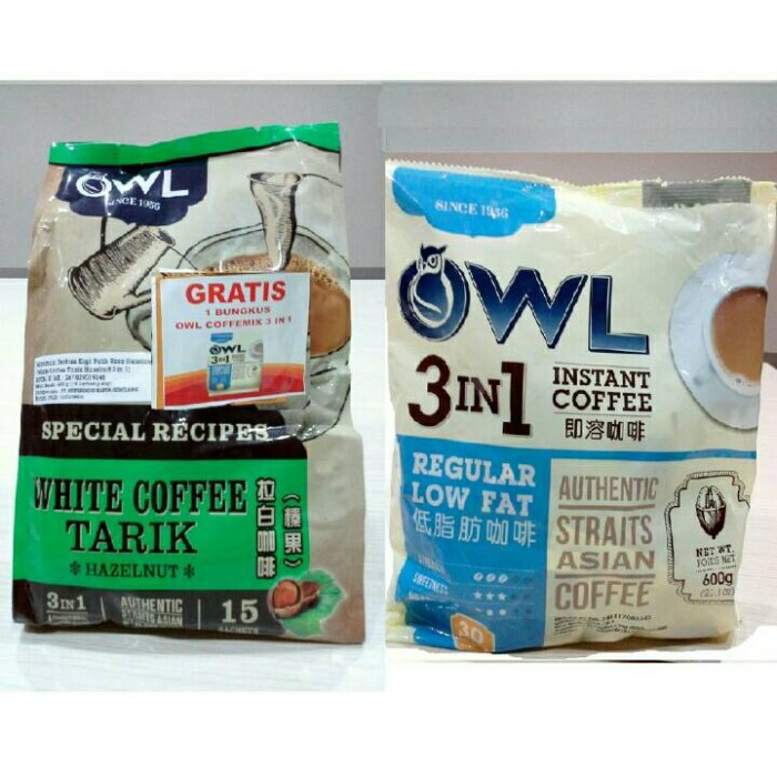 OWL White Coffee Tarik 3IN1 Hazelnut .