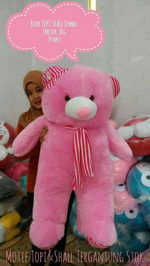 harga Boneka teddy bear topi shall jumbo ukuran 1 meter berat 3kg Tokopedia.com