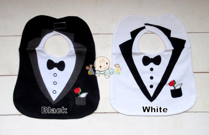 Slabber Makan Anak Bayi Tuksedo Hitam Putih