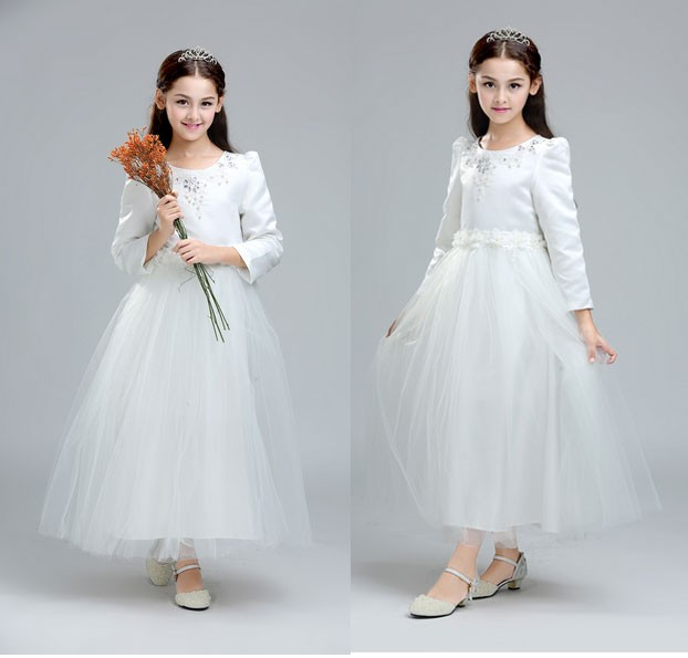 harga Bap.090 gaun pesta anak perempuan model lengan dan rok panjang putih Tokopedia.