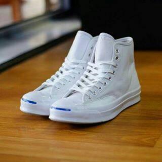 Jual Sepatu Converse Jack Purcell Signature Leather Hi Full White ... d3f348071a