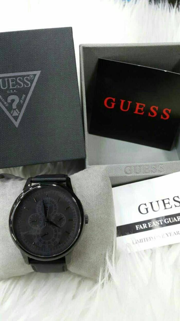 Guess W0493g2 Jam Tangan Pria Leather Black Daftar Harga Terbaru Valentino Rudy Vr104 1315 White W0920g3 Original Murah