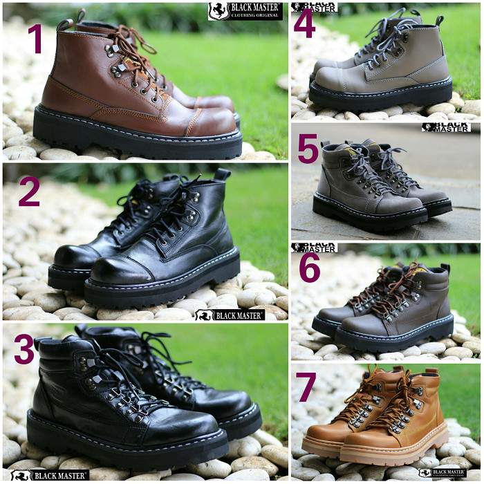 harga Sepatu boots pria black master hard rock kulit tracking hiking touring Tokopedia.com