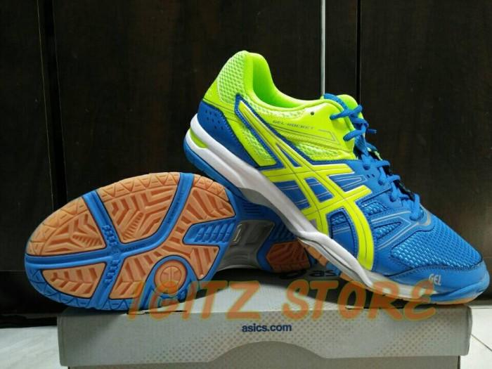 Original  Sepatu Badminton Volley ASICS GEL-ROCKET 7 Blue SoftGreen 9e91166d48