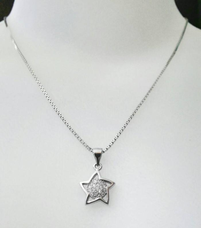 harga Fashion kalung liontin 1set/perhiasan perak silver 925 lapis mas putih Tokopedia.com
