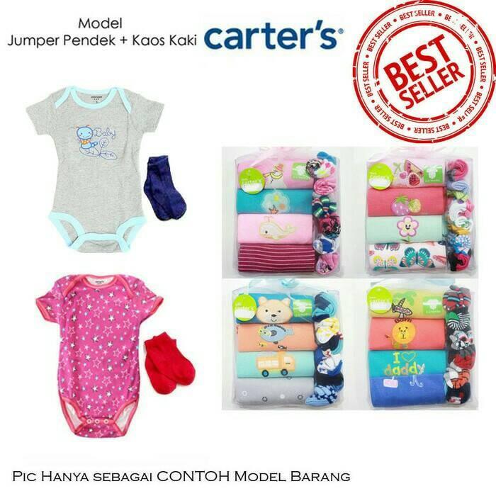 harga Gift set kado bayi 4pcs+6psg | jumper pendek carter + kaos kaki carter Tokopedia.com