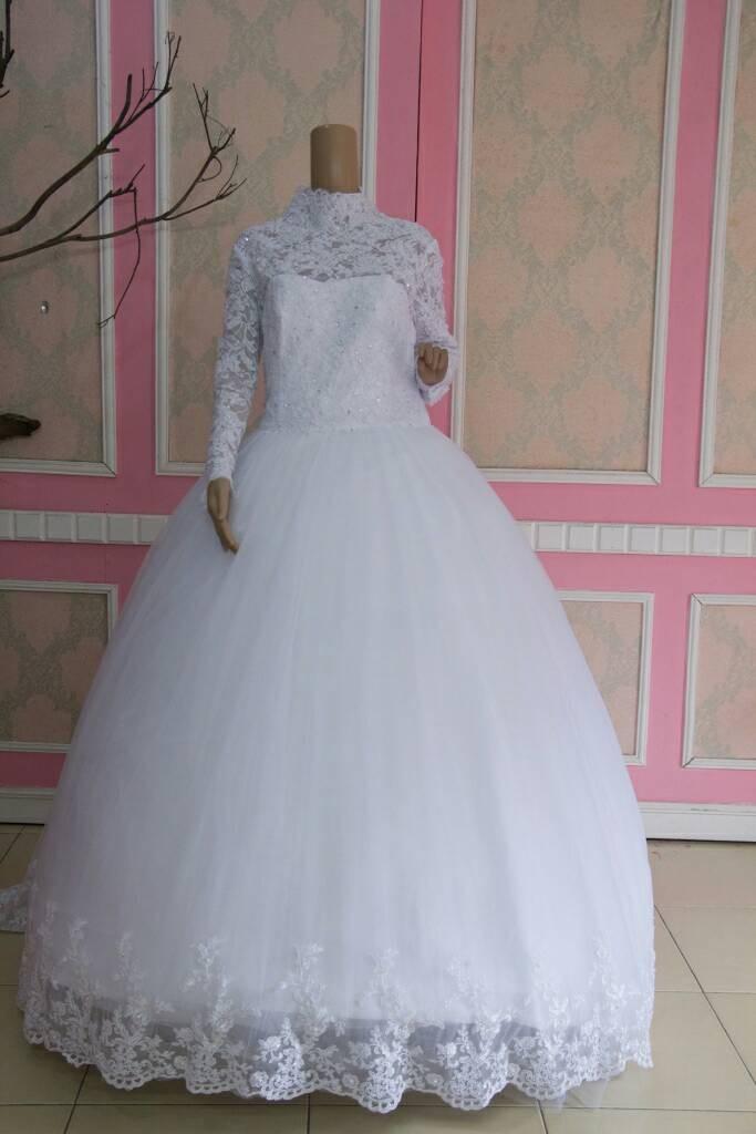 Jual Gaun Pengantin Muslimah Baju Pengantin Putih Muslim Wedding