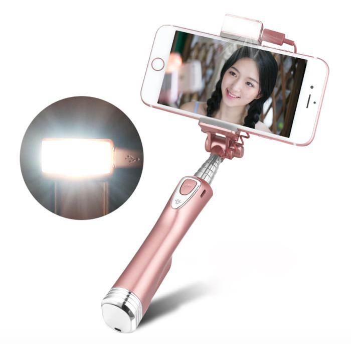 harga Selfie stick with rear mirror led light bluetooth remote adyss-a8 Tokopedia.com