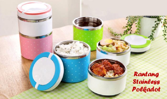 Lunch box / rantang susun 2 putar polkadot stainless steel kedap udara