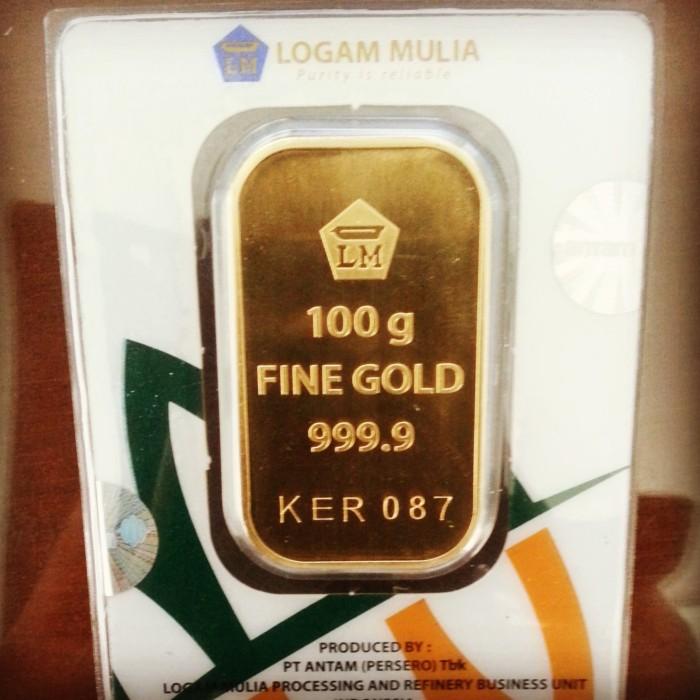 Jual 100 Gr Gram Goldbarlogam Mulialmemas Batangan Antam