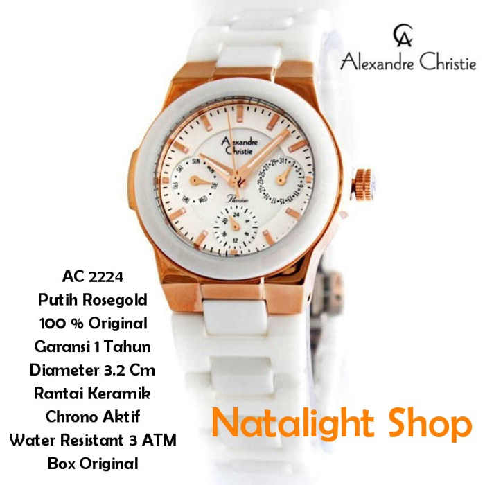 Jam Tangan Wanita Alexandre Christie 2224 Keramik Putih Mewah Original