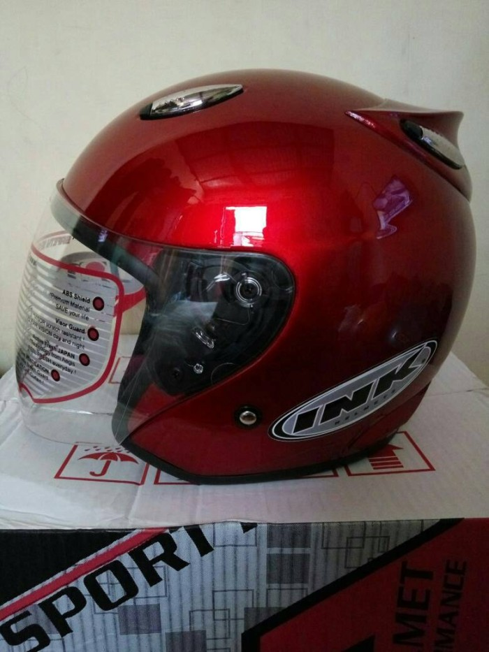 Helm basic model ink centro merah maron limited diskon