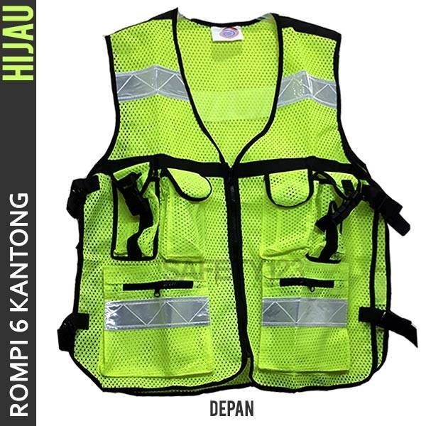 Foto Produk Rompi Jaring 6 Kantong Safety Vest Scotlite Scotlight Hijau Termurah dari Safety123