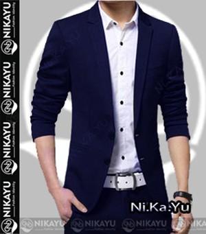 harga Blazer new casual full navy - jas pria slimfit korea style biru Tokopedia.com