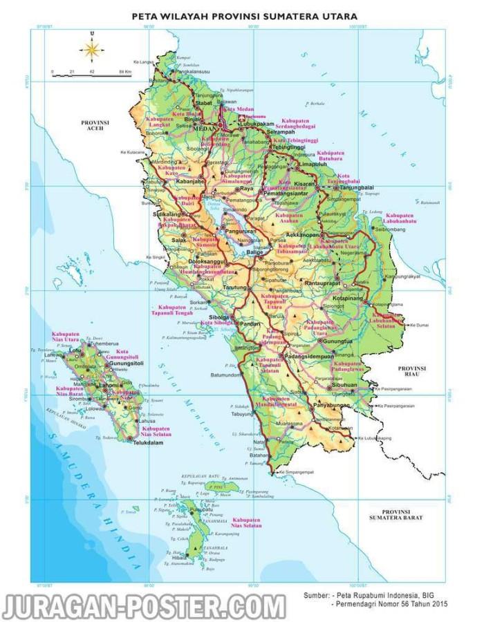 Peta Dinding Wilayah Provinsi Sumatera Utara Ukuran Besar Xcm