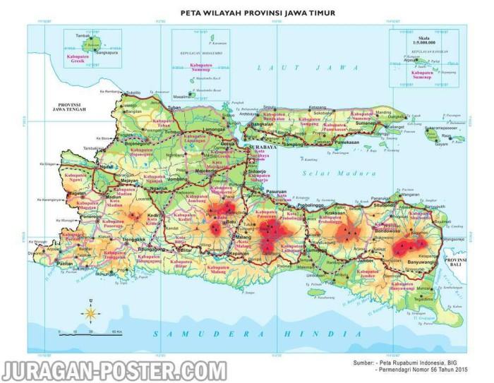 Jual Peta Dinding Wilayah Provinsi Jawa Timur Ukuran Besar 120x155cm