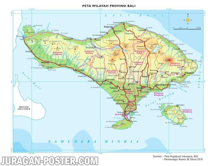 Jual Peta Dinding Wilayah Provinsi Bali Ukuran Besar 120x155cm Gambar