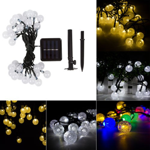 harga Solar power garden decoration 30 led bola kristal 6 m warna warni . Tokopedia.com