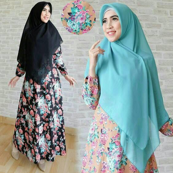 Jual Hijab Zamira Flower Busana Muslim Gamis Baju Lebaran Zahira