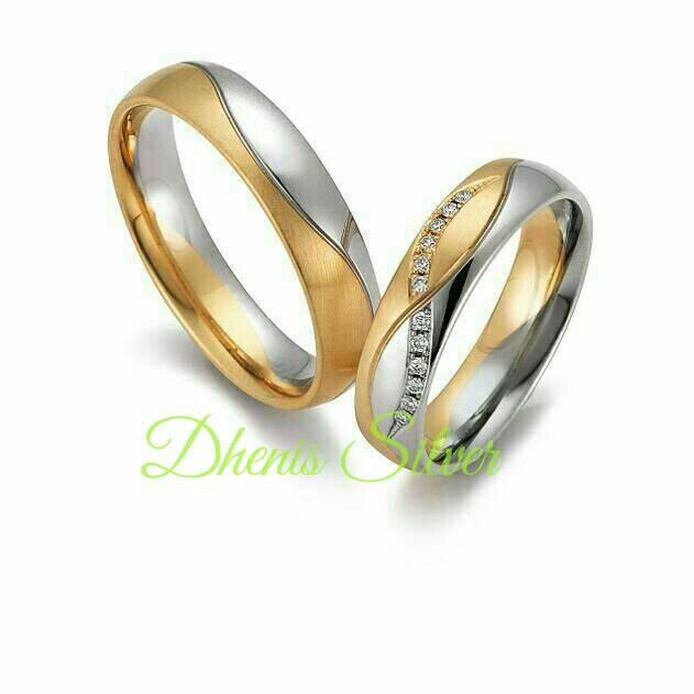 Cincin Kawin Nikah Tunangan Couple Perak Lapis Emas Microsetting