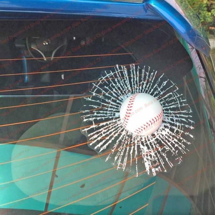 3d car window break glass stiker 3 dimensi kaca mobil bola baseball