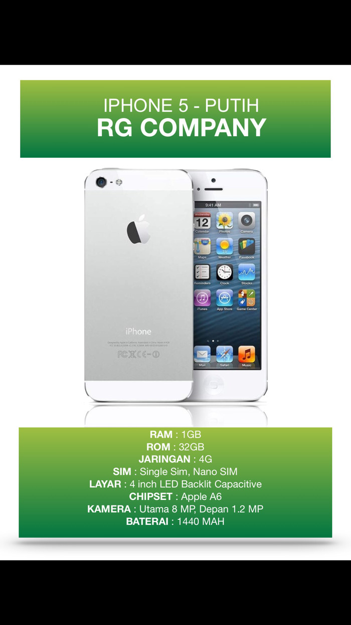 Jual Hot Iphone 5 32gb Putih Garansi 1 Tahun Rg Company 40hot41