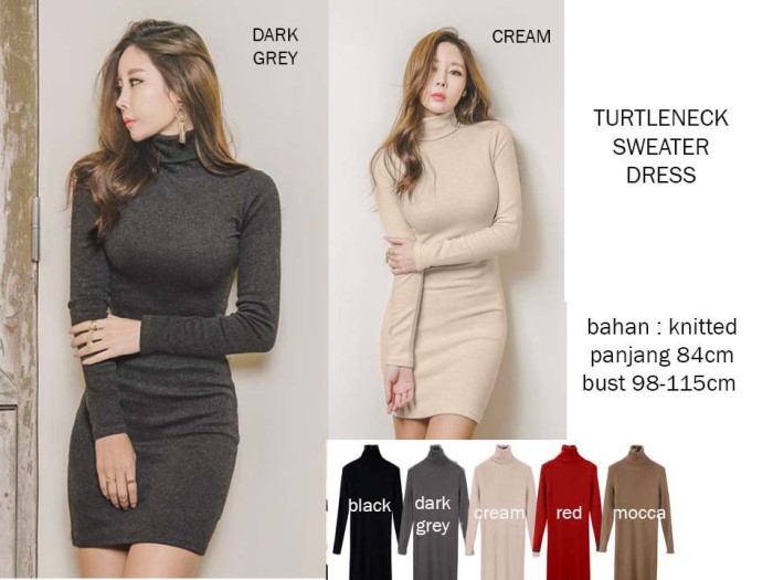 TURTLE NECK DRESS POLOS WANITA / MINI DRESS WANITA FIT BODY