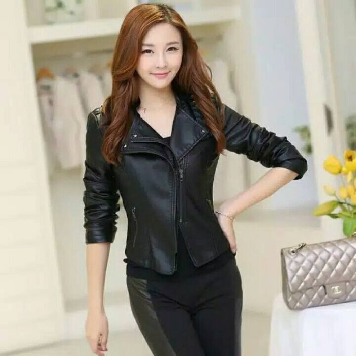 Jual jaket kulit wanita korea style (jaket semi kulit wanita c747b02051