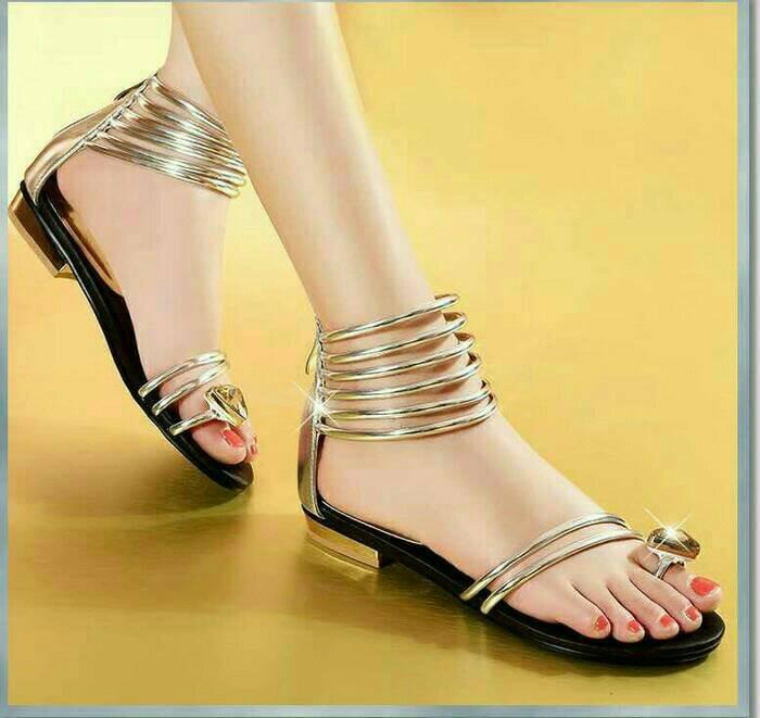 782b7b56fe6 Jual Sandal Flat Cleopatra Gladiator GOLD Justtin - Kota Bogor ...
