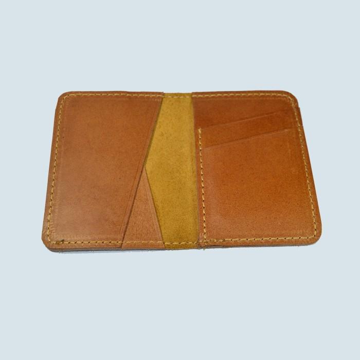 dompet kartu lipat kulit asli unik simpel slim - minimalis wallet tan