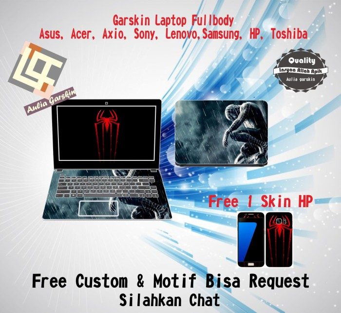 harga Garskin laptop full body all asus acer dll motif spidrman- free custom Tokopedia.com