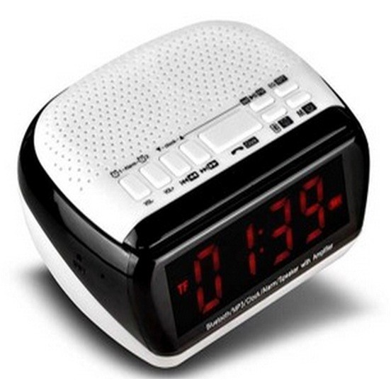harga Speaker mini bluetooth + radio fm + jam meja + jam weker alarm digital Tokopedia.com