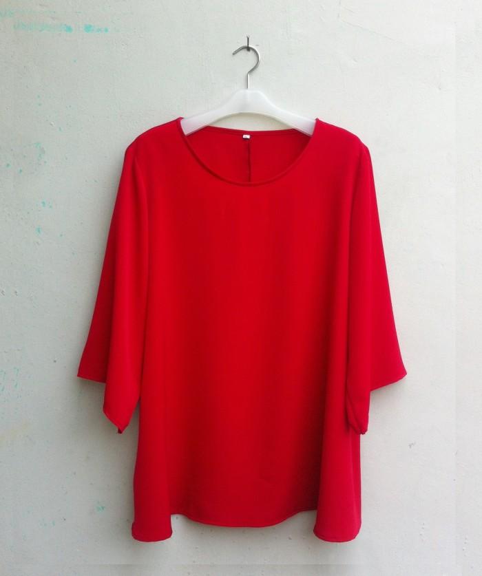 Blouse Wanita Big Size 2L, 3L, 4L & 5L Warna Merah