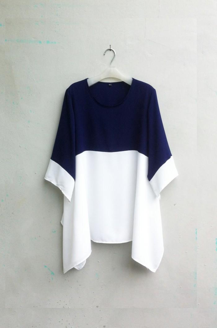 [NEW APR 17] Blouse Wanita Big Size 2L, 3L & 4L Warna Biru & Putih