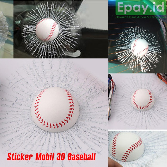 Stiker bola baseball 3d kaca mobil