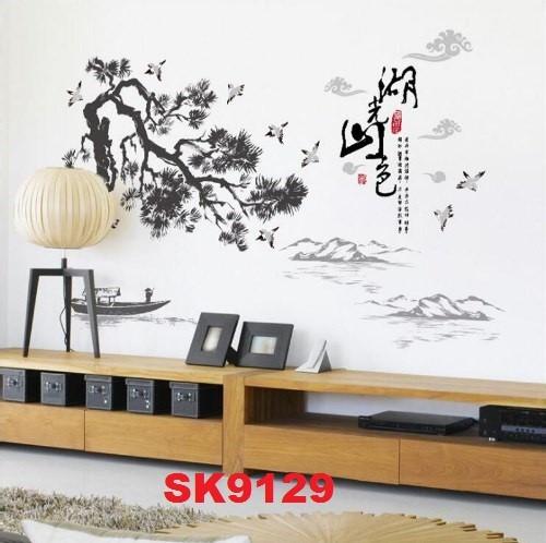 harga Wallsticker uk.60x90 lukisan gunung burung pohon hitam Tokopedia.com