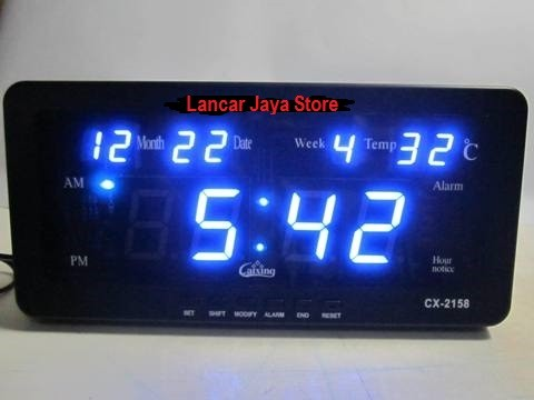 Jam Dinding Digital LED DIGITAL CLOCK CAIXING CX-2158 (BIRU)