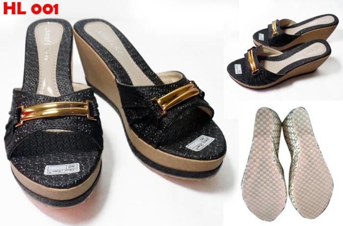 harga Sandal wedges wanita kualitas super sol karet harga grosir tinggi 8cm Tokopedia.com