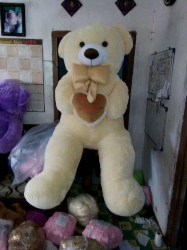 Jual Boneka Beruang Lucu Teddybear 150 Cm Model Duduk Warna Cream
