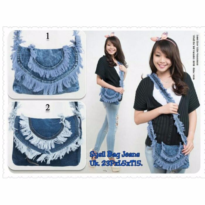 SB Collection Tas sysil jeans biru muda