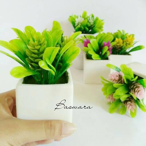 harga Vas kotak bunga kecil bonsai plastik artificial palsu pot keramik unik Tokopedia.com
